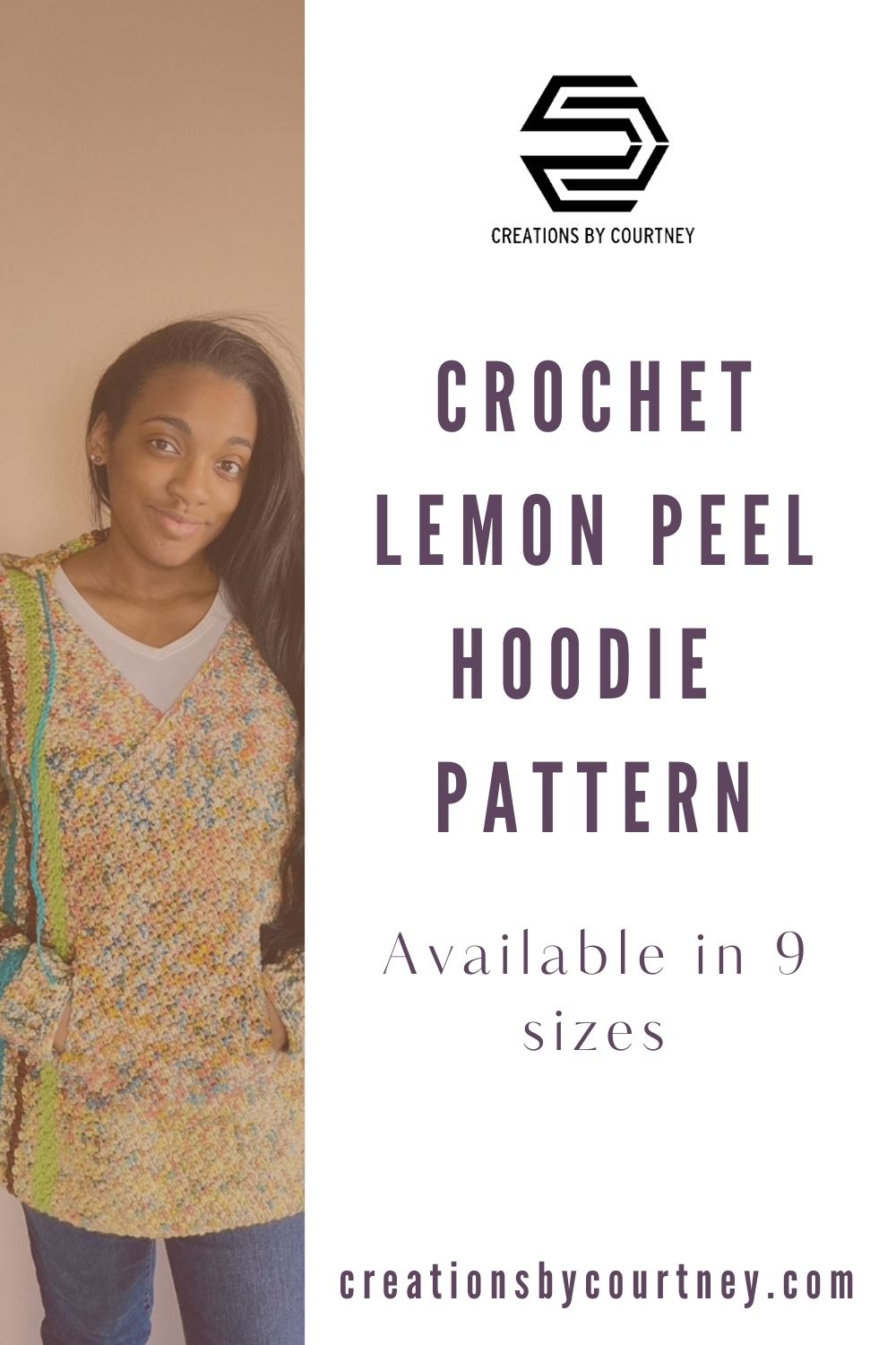 The LP Hoodie offers texture, comfort and style in this size-inclusive crochet pattern. With vertical stripes, it compliments all sizes. The hood is shaped so it stays in place and has ties. The v-neck allows for easy layering, but is not too low that you have to wear a shirt underneath. The hidden pocket is great for your hands and holding a phone. #creationsbycourtney #crochetsweater