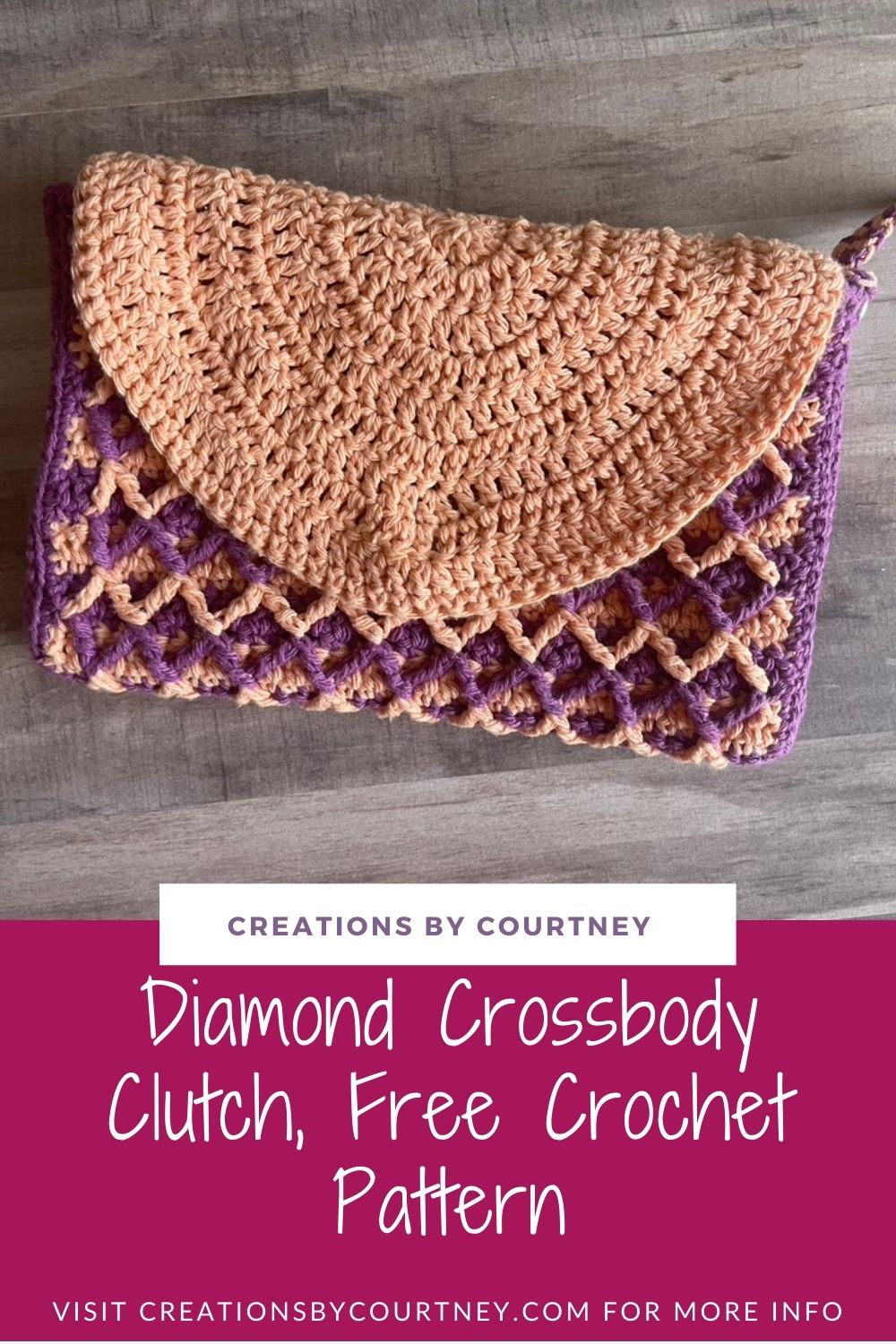 The Diamond Crossbody Clutch is a free crochet pattern. You will create lots of texture and a fun striping pattern with two colors of worsted weight cotton. With two strap options, wrist and crossbody, it's easy to carry your essentials.