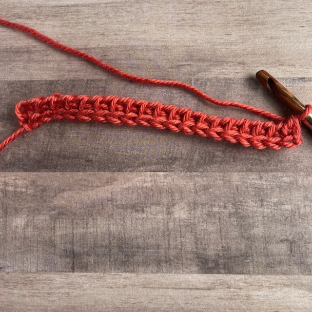 A row of tunisian simple stitch in a sunrise color of yarn.